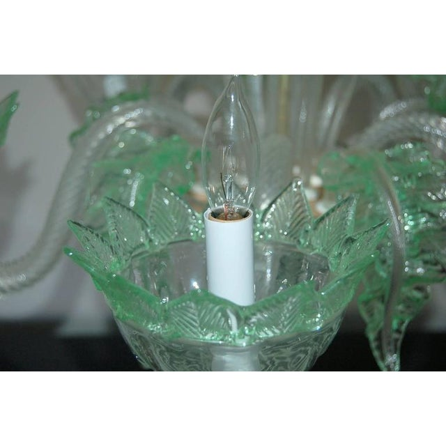 Chandelier Vintage Murano Glass Clear Green For Sale - Image 9 of 10