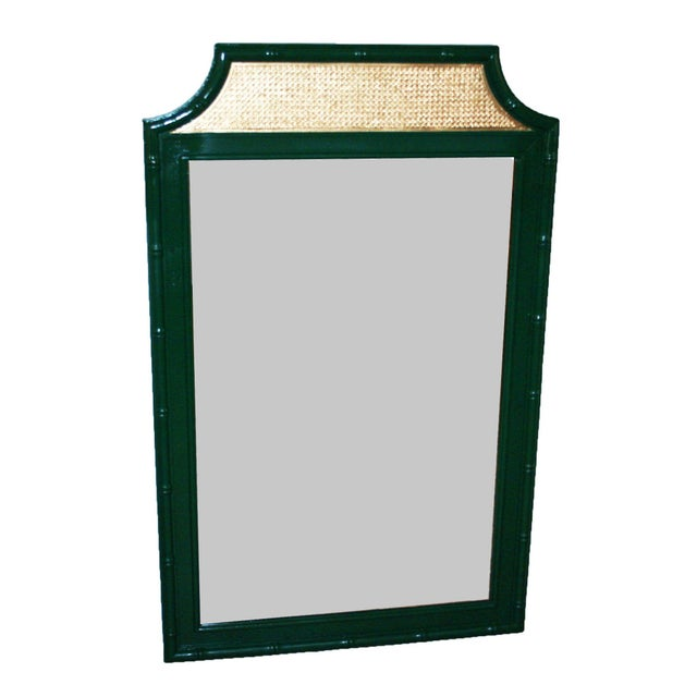 Vintage Green & Gold Faux-Bamboo Mirror - Image 2 of 5