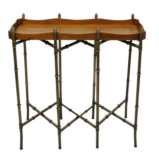 20th Century Chippendale Sarreid Metal Faux Bamboo Chinese Style Tall Folding Tray Side Table For Sale