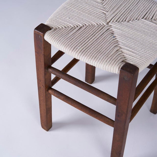 Vintage Mid Century Hand Woven Stools- A Pair For Sale In Houston - Image 6 of 7