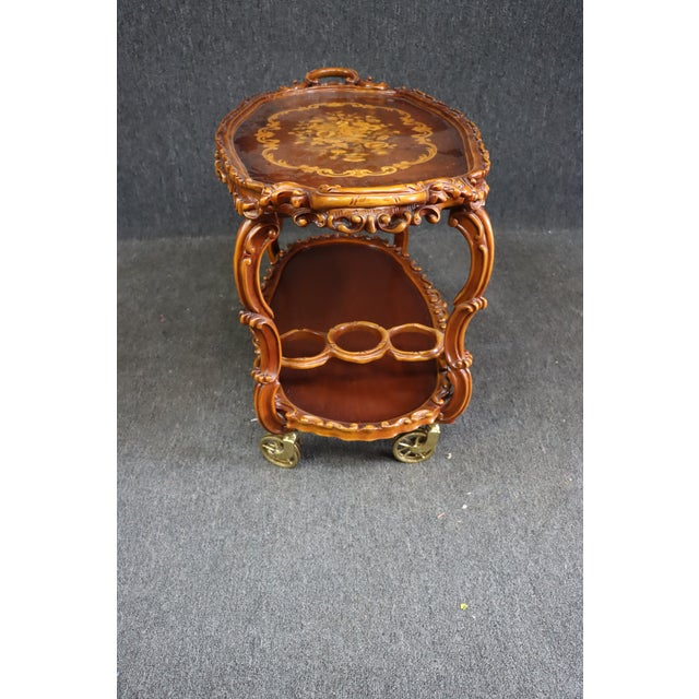 Metal Italian Style Carved and Inlaid Bar Cart For Sale - Image 7 of 9