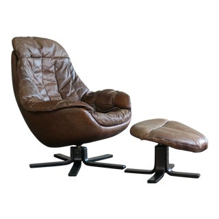 Danish Midcentury Brown Leather Egg Chair With Ottoman by H. W. Klein For Sale