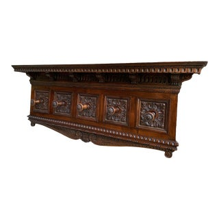 Antique Italian Carved Oak Renaissance Revival Wall Hanging Shelf Coat Hat Rack For Sale
