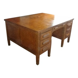 1950s Large Double Sided Partner Desk For Sale