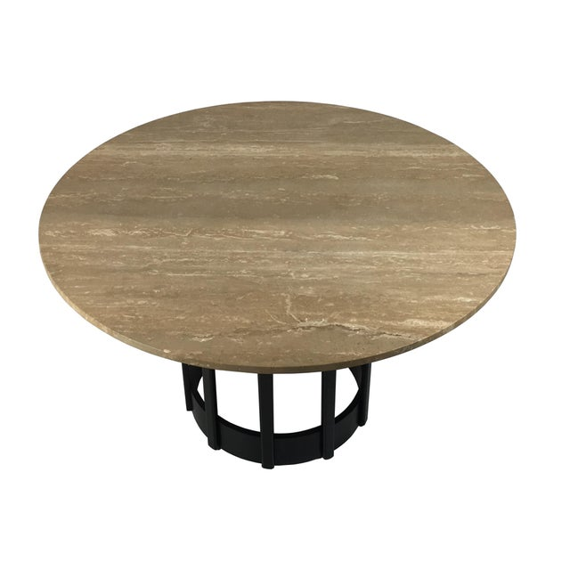 Beautifully crafted walnut base supporting its original fitted Italian Travertine marble top. The base has been...