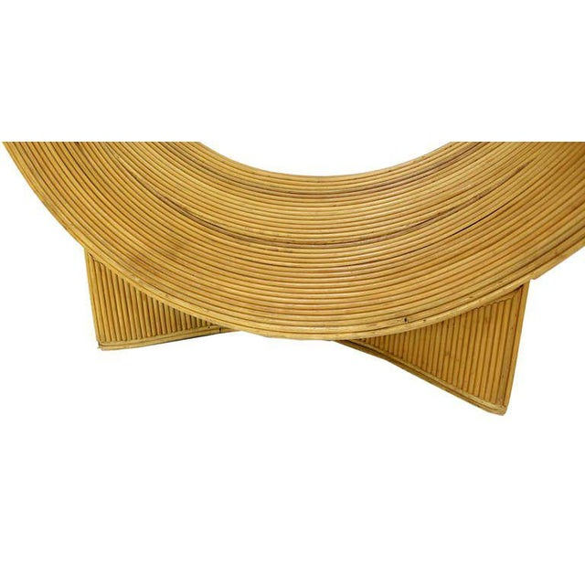 Early 20th Century Midcentury Rattan U Shape Base Glass Top Console Sofa Table For Sale - Image 5 of 8