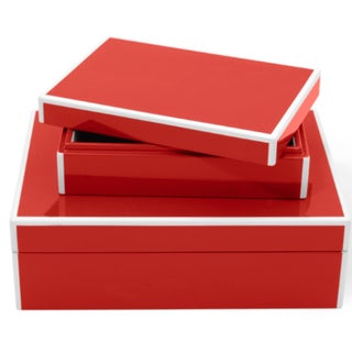 Red Lacquered Boxes - A Pair