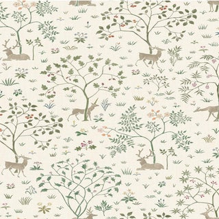 "Lewis & Wood Voysey Park Verdure Extra Wide 52"" Botanic Style Wallpaper Sample For Sale"