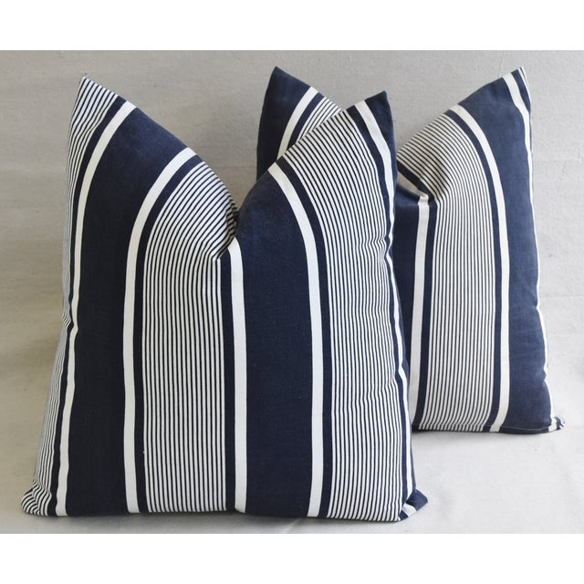 """Custom French Stripe Ticking Fabric Feather & Down Pillows 22"""" X 21"""" - a Pair - Image 2 of 11"""
