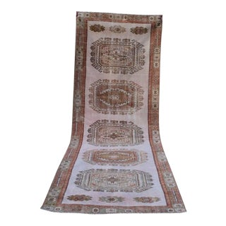 Vintage Tribal Muted Colors Oushak Hallway Runner Rug, Contemporary Wide Oushak Runner With Modern Style 4' X 12'6'' / 123 X 380cm For Sale