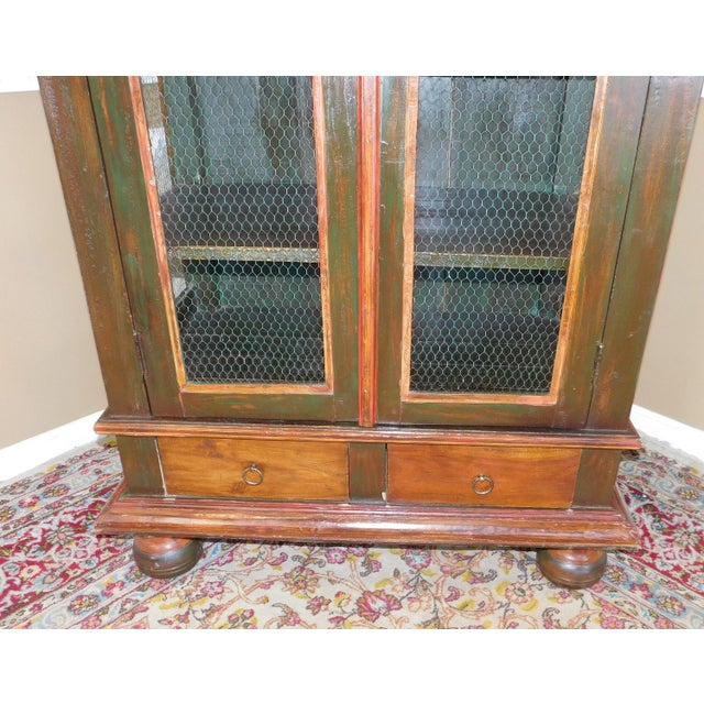Very Nice Country Style Double Chicken Wire Door Primitive & Rustic Painted Armoire 1990s For Sale - Image 5 of 11