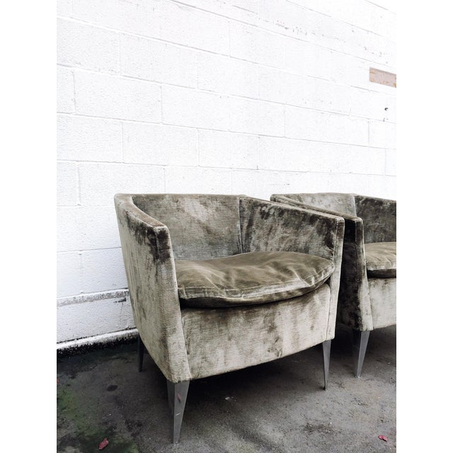 2000 - 2009 Bernhardt Furniture Co. Contemporary Club Chairs in Original Sage Crushed Velvet - a Pair For Sale - Image 5 of 12