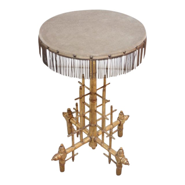 Machine Age-Style Giltwood Occasional Table For Sale
