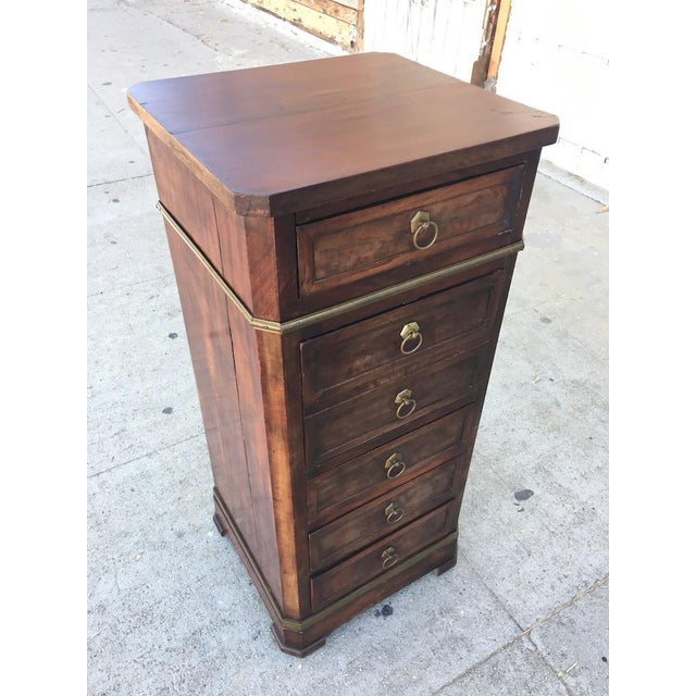 Antique Walnut & Brass Chest of Drawers - Image 11 of 11