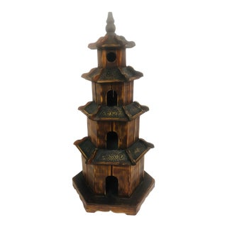 Late 20th Century Wooden Four Tier Tabletop Pagoda For Sale
