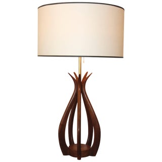 Adrian Pearsall Attributed Sculptural Walnut Table Lamp For Sale