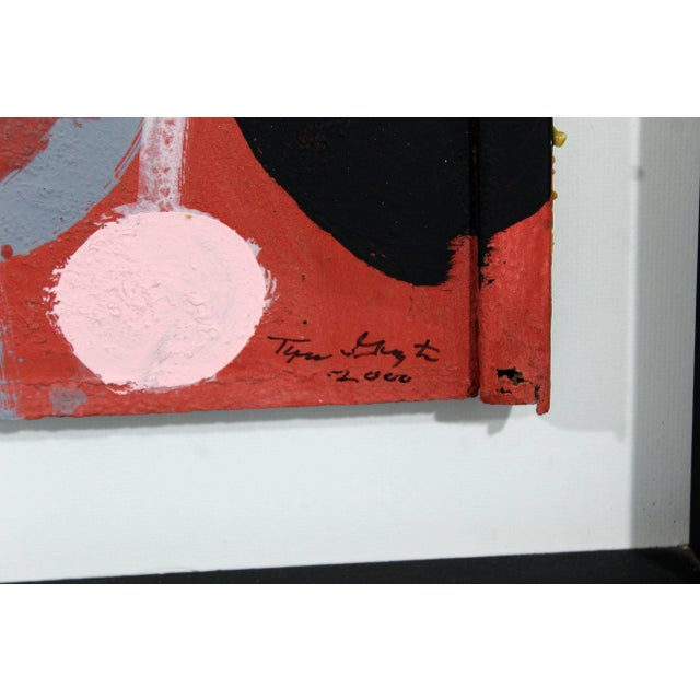 2000 - 2009 Contemporary Framed Painting Portrait on Metal Signed Tyree Guyton Dated 2000s For Sale - Image 5 of 7