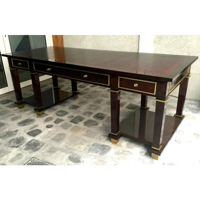 Bronze Jacques Adnet Exceptional Neoclassic Large President Desk With Leather Top For Sale - Image 7 of 7