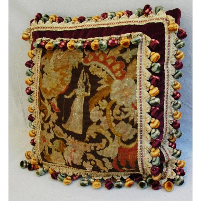 Custom Antique French Needlepoint & Velvet Pillow - Image 5 of 11