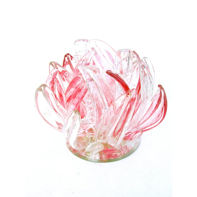 Massive murano pink clear art glass floraform candelabra