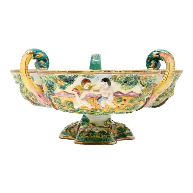 Vintage Italian Capodimonte Clover-Shaped Footed Bowl For Sale