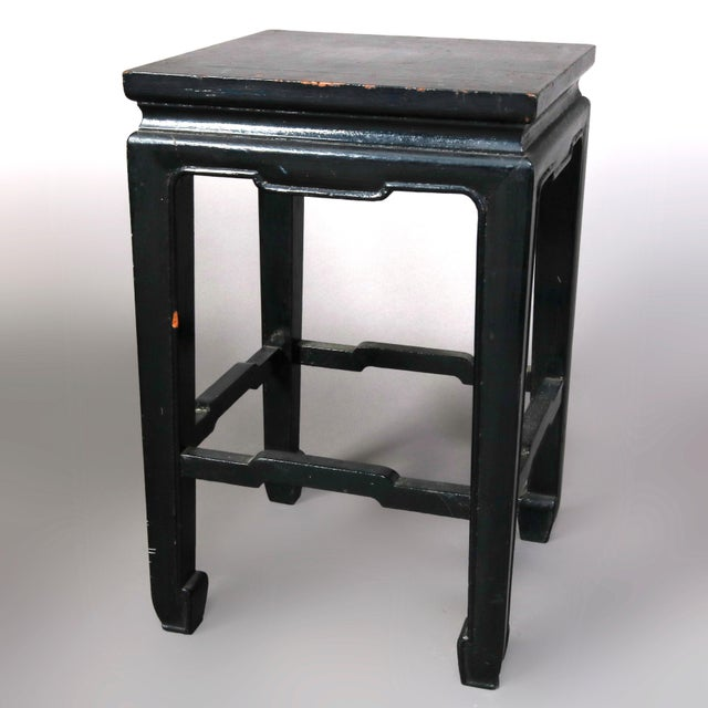 Vintage Black Lacquered Chinese Side Stands, 20th Century - Set of 4 For Sale - Image 9 of 13