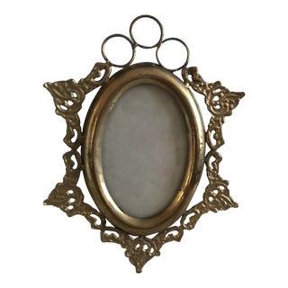 Vintage Hollywood Regency Brass Picture Frame For Sale