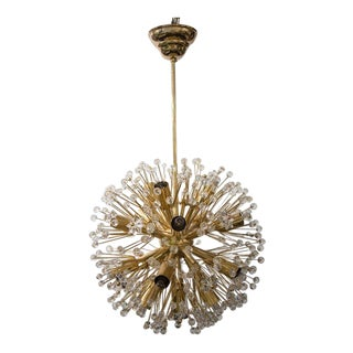 "Gold Plated ""Snowball"" Crystal Chandelier by Emil Stejnar for Rupert Nikoll, Austria"