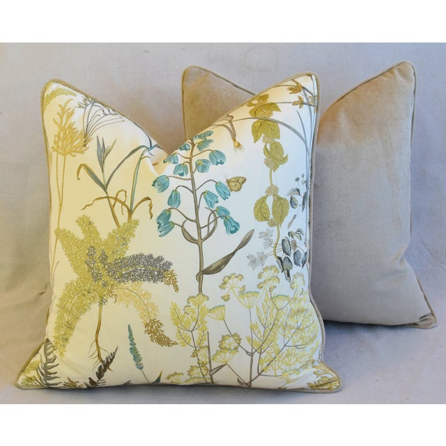 "Botanical Wildflower Floral Feather/Down Pillows 23"" Square - Pair For Sale - Image 11 of 13"