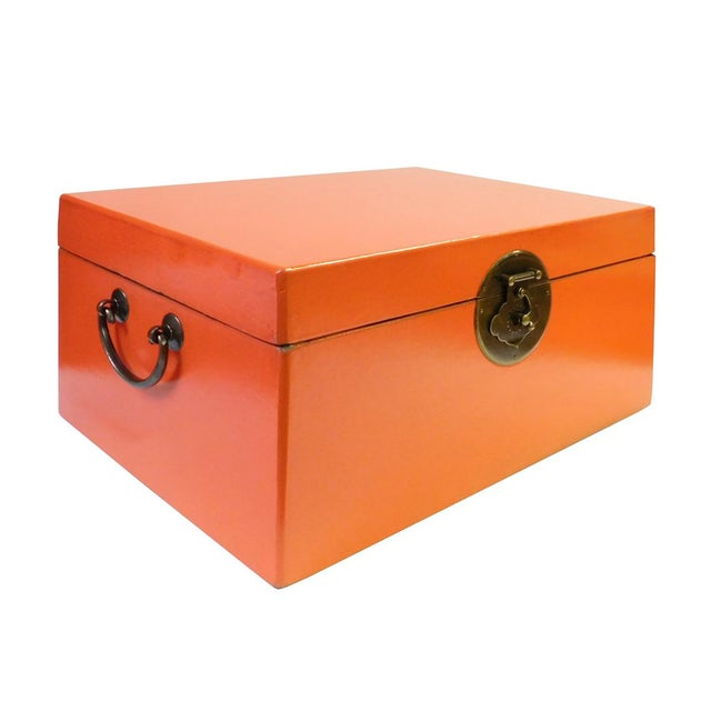 Asian Chinese Orange Rectangular Shape Container Box For Sale - Image 3 of 5