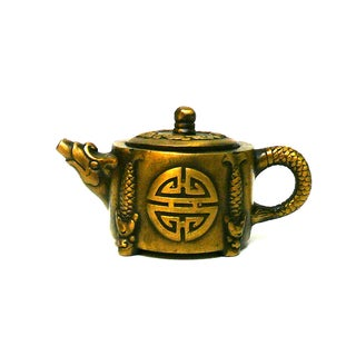 Chinese Metal Bronze Color Accent Teapot Display For Sale