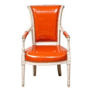 Pair of Orange Directoire Style Chairs For Sale