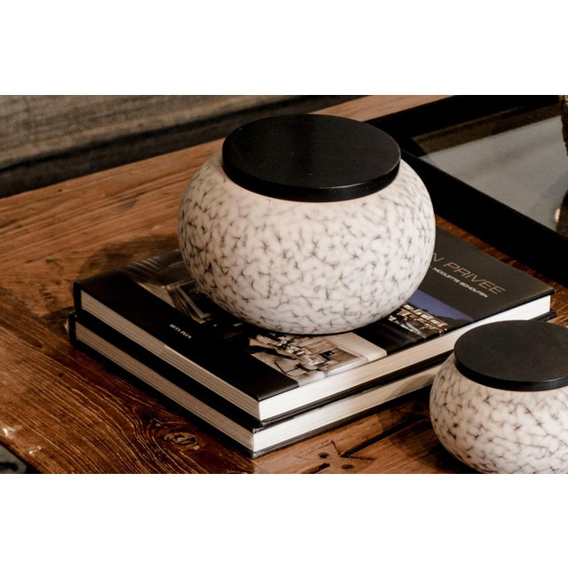 Contemporary Light Charcoal Handmade Patterned Earthenware Large Round Box With Lacquer Lid by Gilles Caffier For Sale - Image 3 of 5