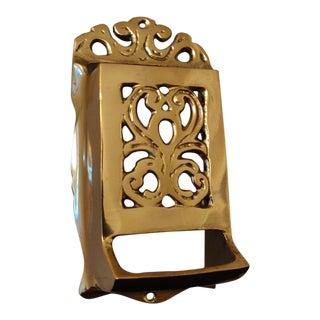 Hollywood Regency Brass Match Holder For Sale