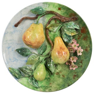 19th Century French Barbotine Wall Platter With Pears For Sale