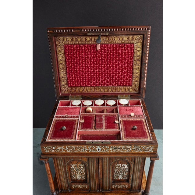 Brown Important William IV Rosewood & Mother of Pearl Inlaid Lady's Table Compendium For Sale - Image 8 of 13