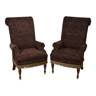 Drexel Pair of High Back Upholstered Host Arm Chairs (B) For Sale