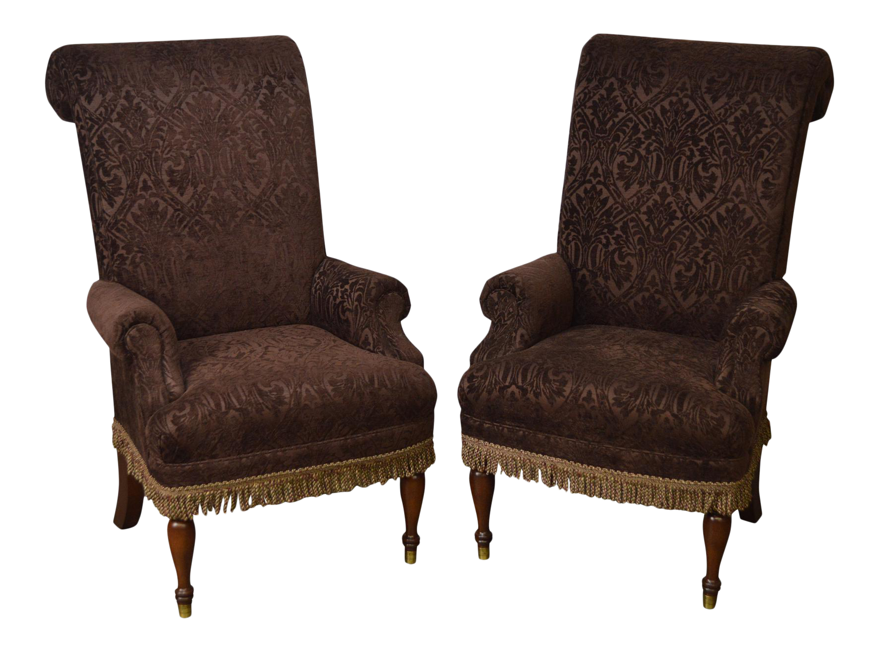 Drexel Pair Of High Back Upholstered Host Arm Chairs (B)
