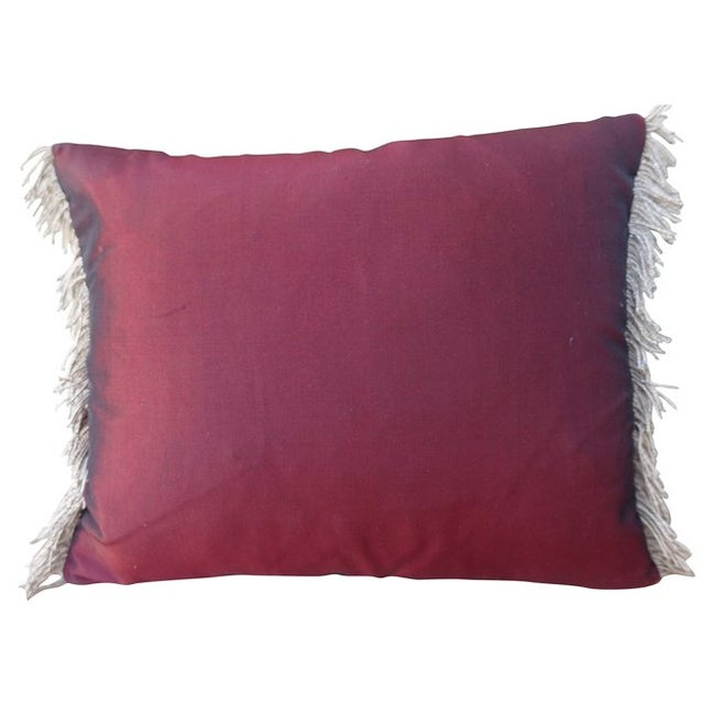 Silk Burgundy Griffin Shield Pillow - Image 5 of 6