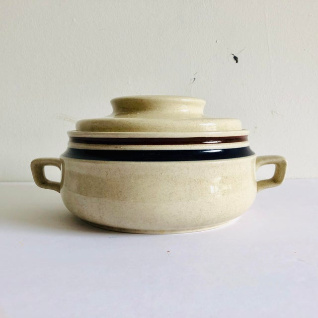 Modern Stoneware Hand Painted Chateau Lidded Bean Bowl For Sale In New York - Image 6 of 6