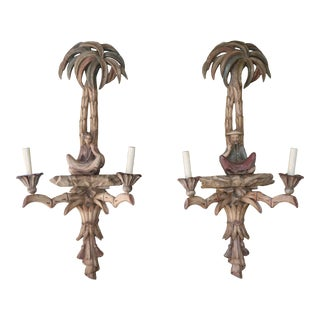 """Antique Italian Wood Carved """"Chinese Decor"""" Sconces - a Pair For Sale"""