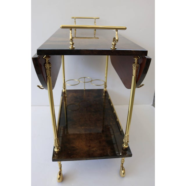 Gold 1960s Goatskin and Brass Bar Cart by Aldo Tura For Sale - Image 8 of 11
