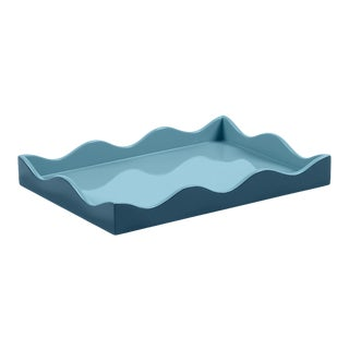 The Lacquer Company for Chairish Belle Rives Tray in Marine Blue / Bluebird, Small For Sale