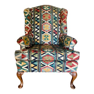 Multi Color Patterned Wing Chair With Queen Anne Legs For Sale