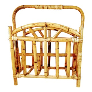 Vintage Bamboo Magazine Rack Holder For Sale