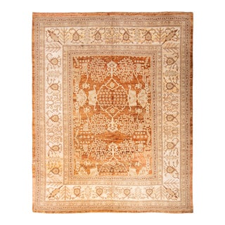 Hand Knotted Modern Oushak Style Copper and Beige Silk Rug Floral Pattern