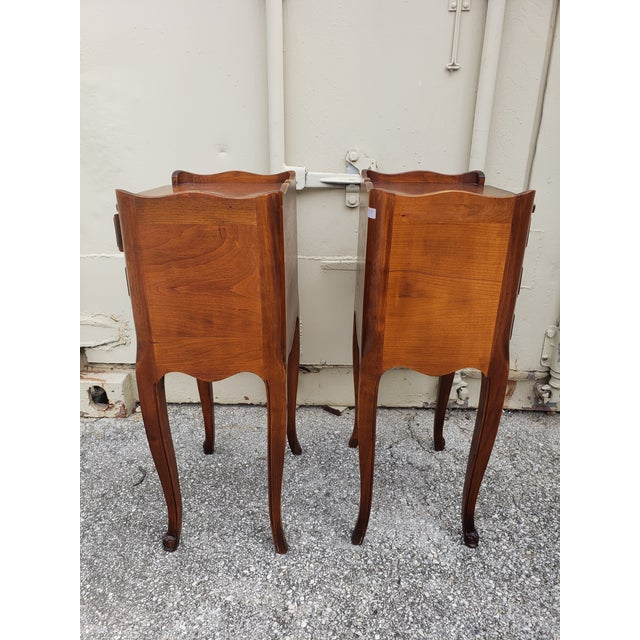 Brown 20th Century French Louis XV Walnut Bedside Cabinets - a Pair For Sale - Image 8 of 10