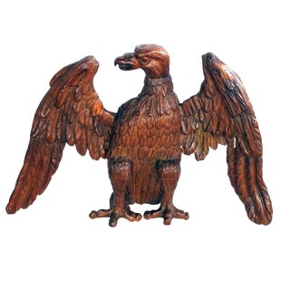 An exceptional and robust American 19th century folk art wood carving of an American Eagle