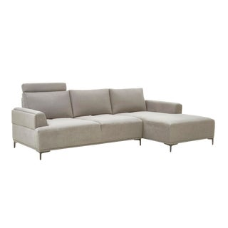 Pasargad Home Modern Lucca Sectional Sofa With Push Back Functional, Beige-Right Facing For Sale