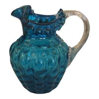 Blue Handblown Art - Glass Pitcher For Sale